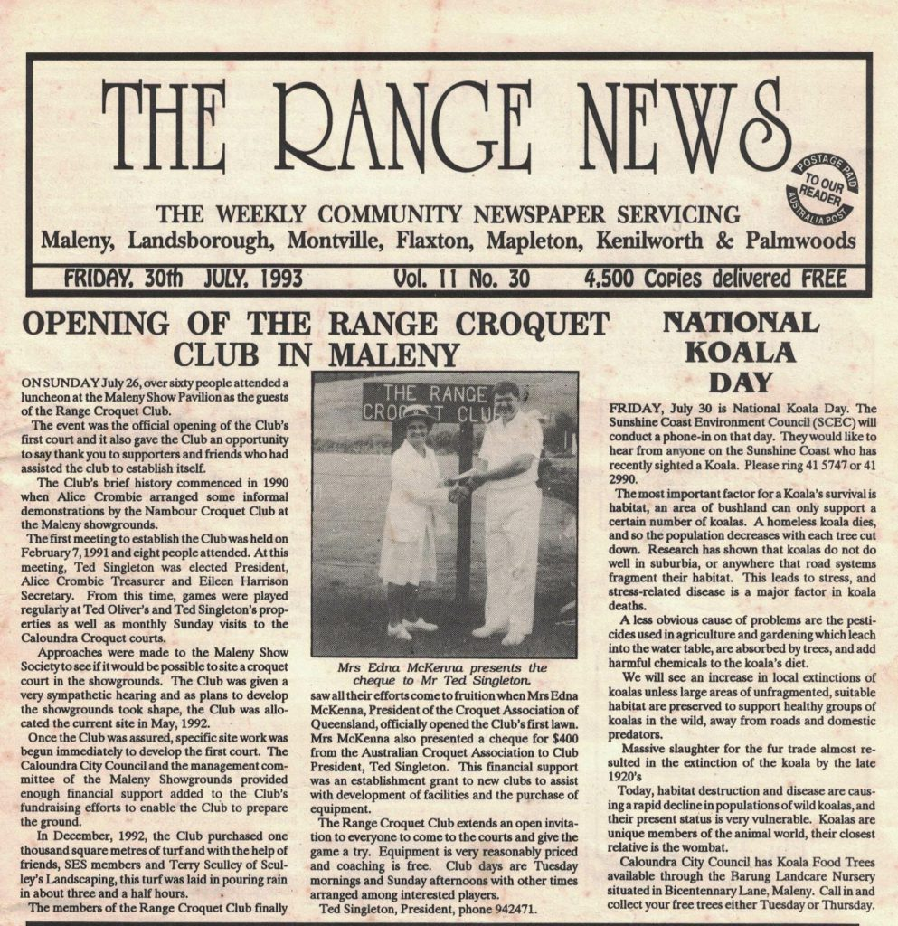Newspaper article describing opening of the Range Croquet Club